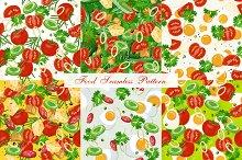 Set of six food seamless pattern