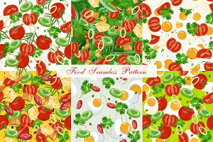 Set of six food seamless pattern