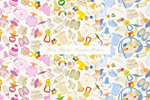 Set of seamless pattern. Baby shower