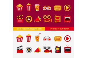 Set of flat cinema icons for online