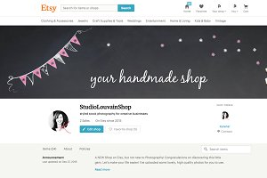 Etsy shop cover photo - pink bunting