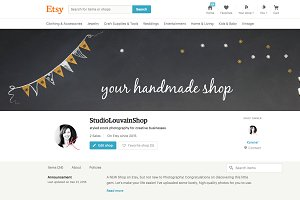 Etsy shop cover photo - gold bunting