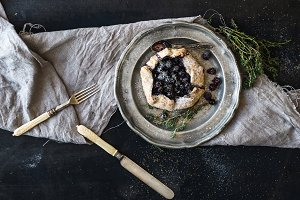 Homemade galette with blueberries