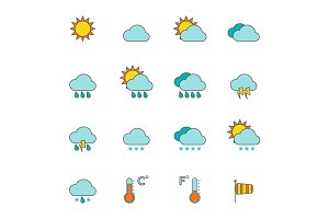 Weather outline icons flat