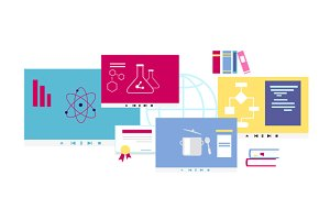 Online Course Icon Flat Design Style