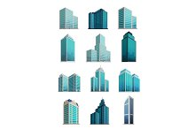 Set Icons Skyscrapers Buildings