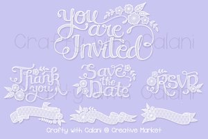 Lace Wedding Invitation Calligraphy