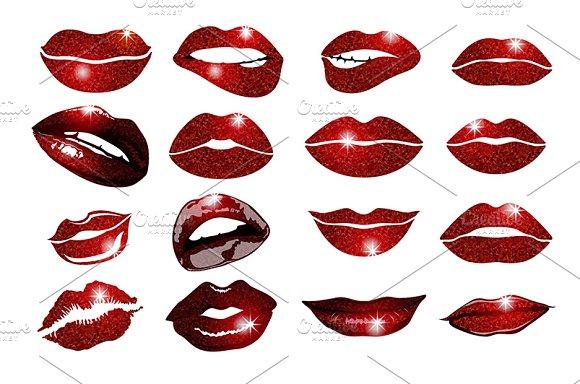 Set of 16 glamour vinous lips