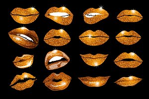 Set of 16 glamour orange lips