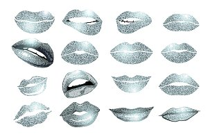 Set of 16 glamour silver lips