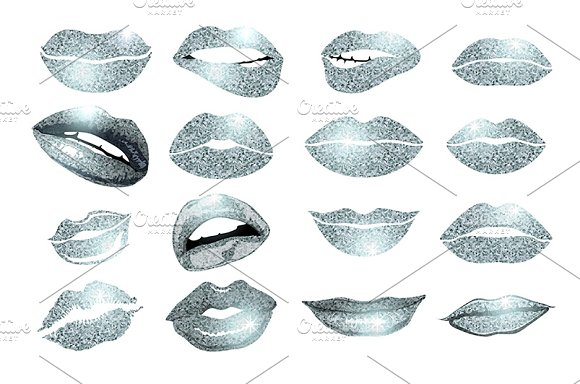 Set of 16 glamour silver lips in Graphics