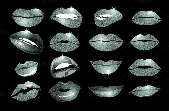 Set of 16 glamour silver lips in Graphics - product preview 1