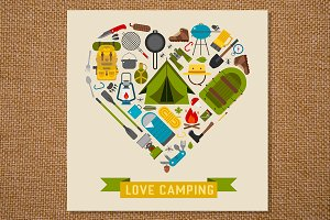 Love Camping Concept Heart