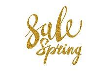 Spring Sale. Gold inscription vector
