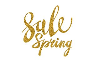 Spring Sale. Gold inscription vector