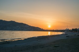 Sunset at the beach in Alanya, Turkey