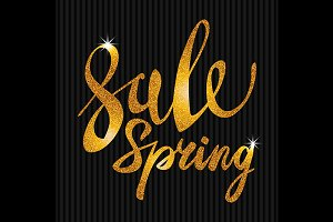Spring Sale. Gold vector light