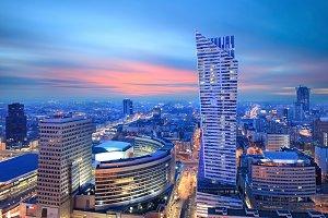 Panorama of modern Warsaw by night