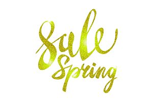 Spring Sale Gold yellow vector light