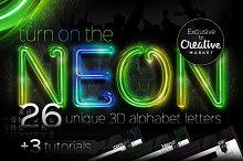 26 Realistic Neon Alphabet Letters