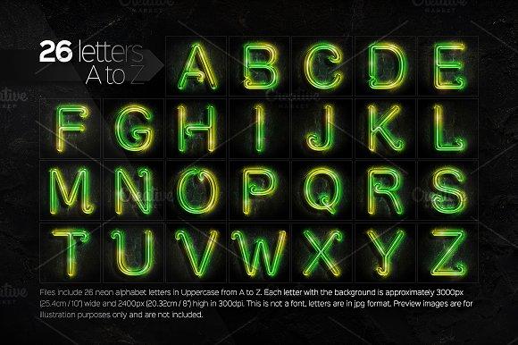 26 realistic neon alphabet letters graphics creative market