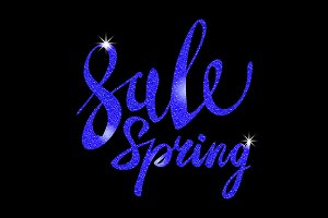 Spring Sale. blue inscription vector