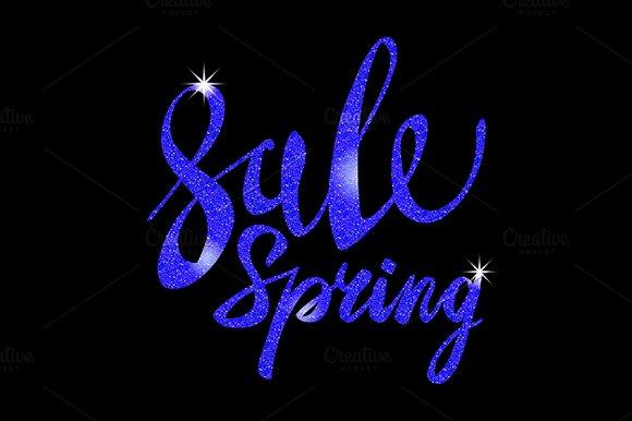 Spring Sale. blue inscription vector - Graphics