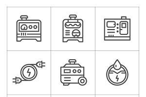 Set icons of electrical generator