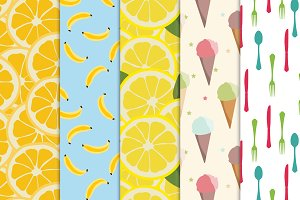 Five seamless food pattern