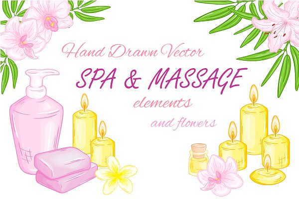 Hand drawn vector SPA elements set