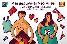 Man and woman vector set