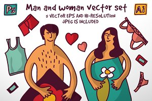 Man and woman vector set