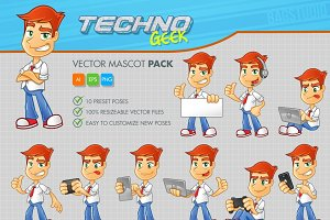 Techno Geek Vector Mascot Pack