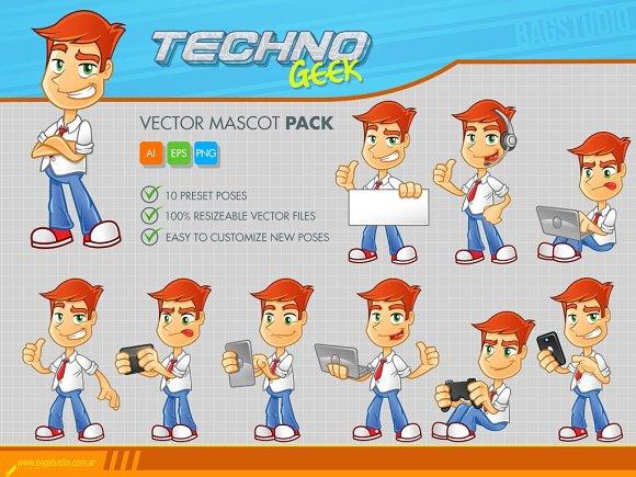 Techno Geek Vector Mascot Pack
