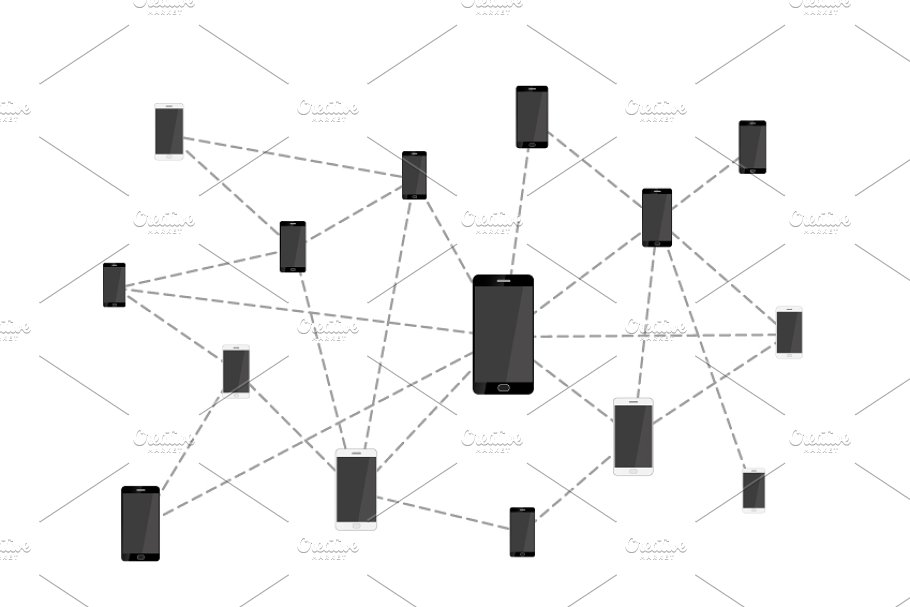 Mobile phones connected in network