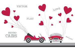 Retro flat cars with hearts