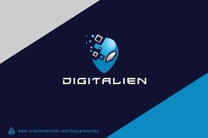 Digital Alien Logo Template 2
