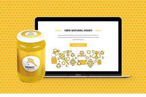 Set for branding honey, apiary