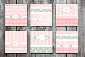 shabby chic cards set