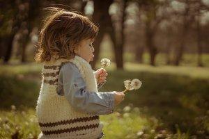 Little girl making a wish