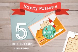 Passover cards icons and elements