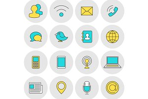 Communication outline icons flat