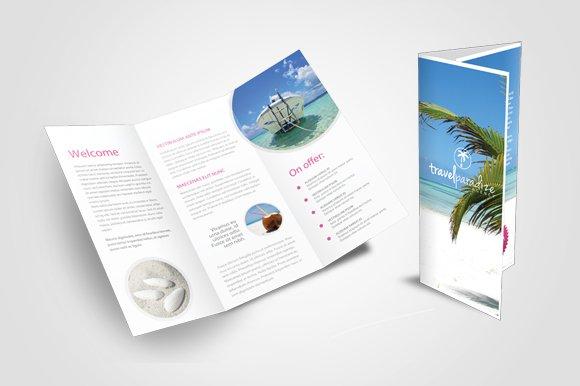 Travel agency tri fold brochure templates creative market for Travel agency brochure template