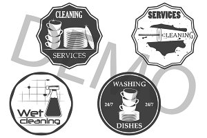Cleaning services emblems. vector