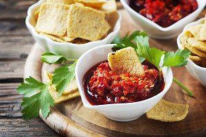 Mexican salsa with chips