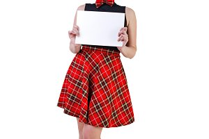 PinUp girl holding sheet of paper