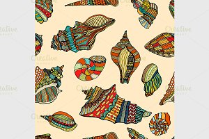 sea cockleshell seamless pattern