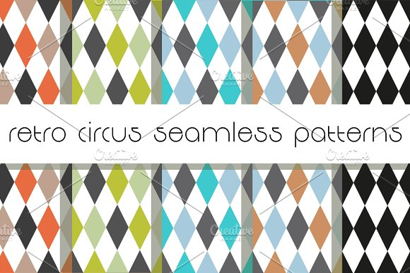 Retro Circus Seamless Patterns.