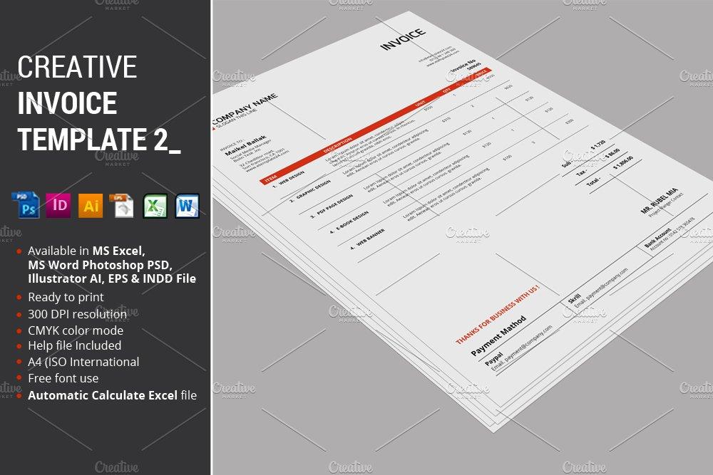 Creative Invoice Template 2 Creative Illustrator Templates Creative Market