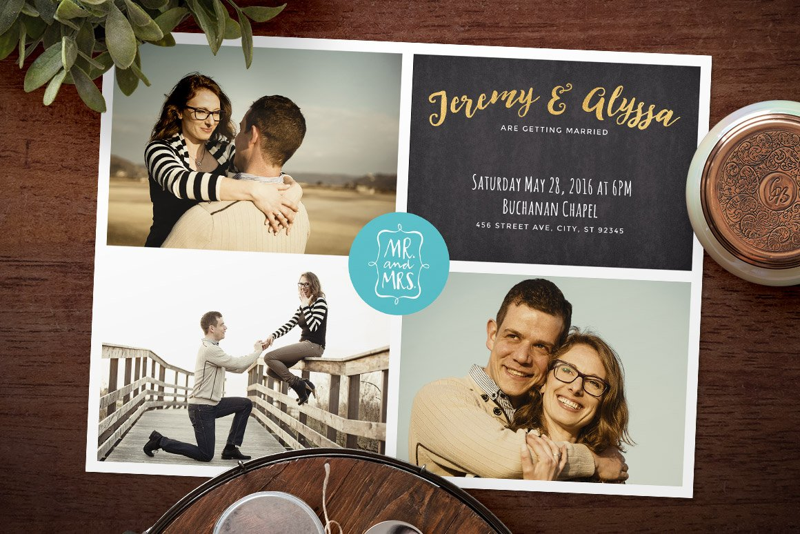 Collage of wedding stock photo 22370405 occasions mr and mrs 7 photo collage wedding invitation invitation templates on creative market maxwellsz